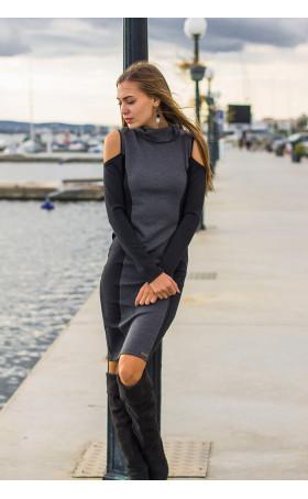Спортно елегантна, ежедневна рокля с отворени части Клои