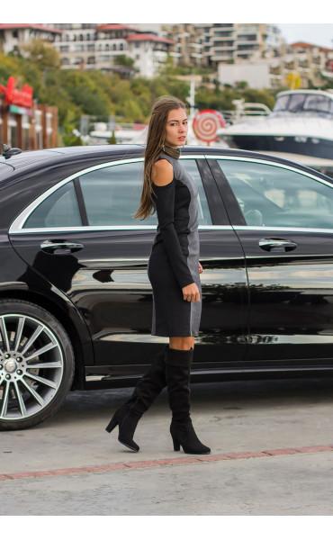 Спортно елегантна, ежедневна рокля с отворени части Клои_14148