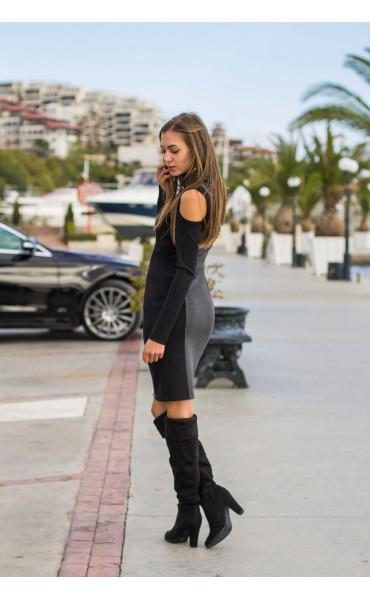 Спортно елегантна, ежедневна рокля с отворени части Клои_14154