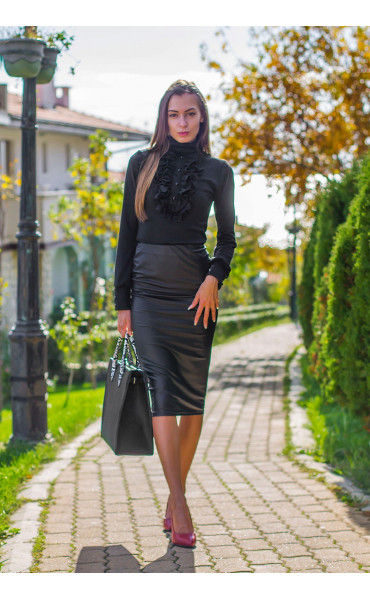Черна блуза с поло яка и жабо Кели_14187