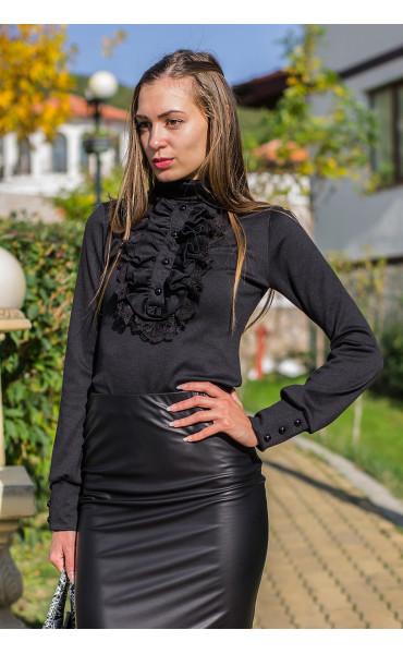 Черна блуза с поло яка и жабо Кели_14188