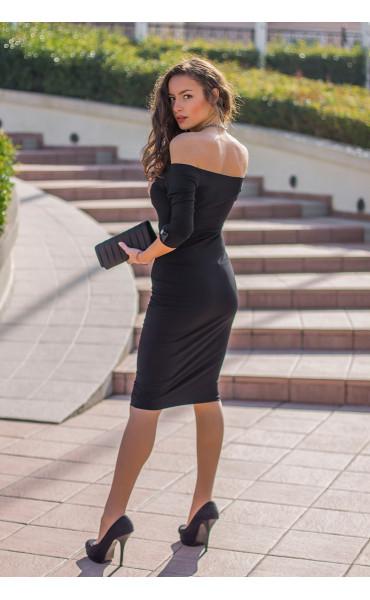 Кокетна черна рокля Селесте с панделка и отворено деколте_14256