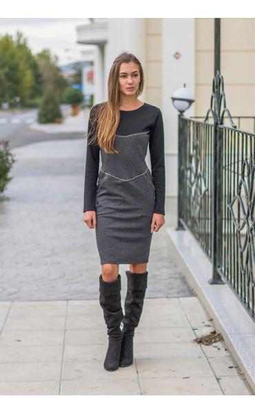 Ежедневна двуцветна рокля Адриана _14311