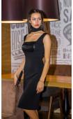Елегантна черна рокля с пайети