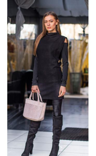 Сет в черно туника от плетиво и блузка Devil_14464