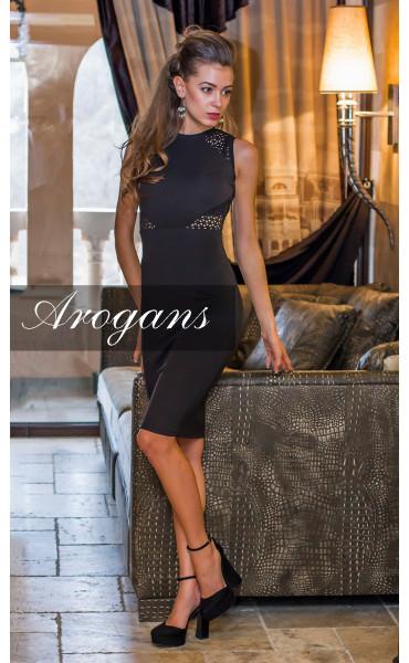 Елегантна черна делова рокля Камелия_14547