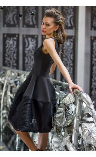 Черна рокля Принцес _14577