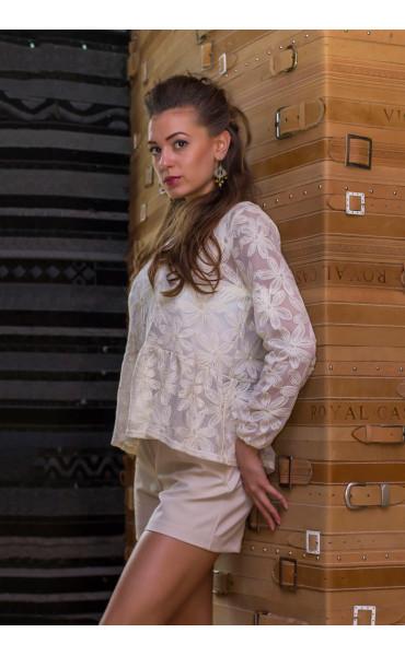 Блуза в цвят екрю Ясмин_14586