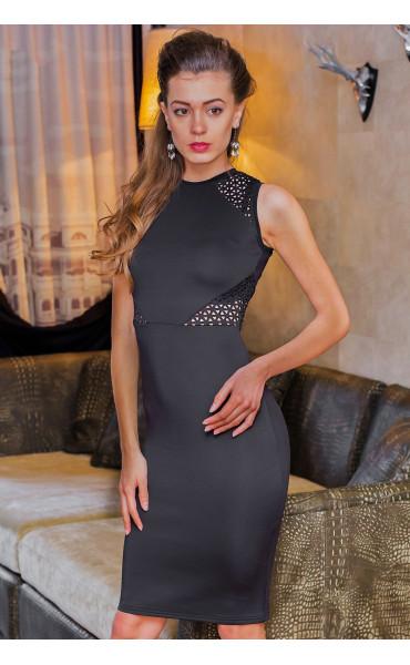 Елегантна черна делова рокля Камелия_14624
