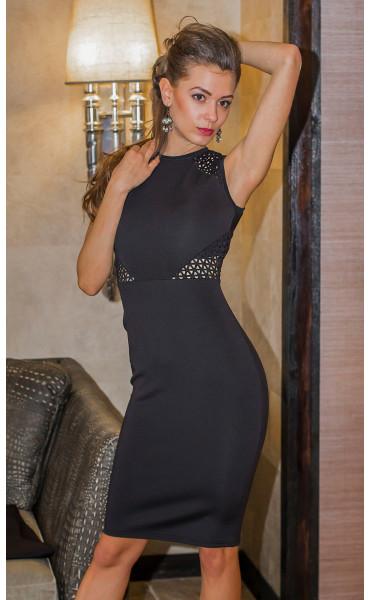 Елегантна черна делова рокля Камелия_14625