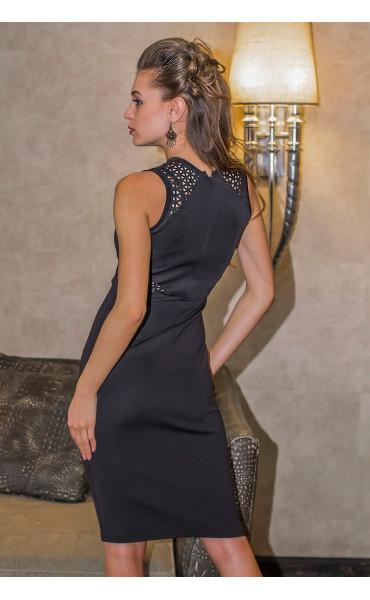 Елегантна черна делова рокля Камелия_14626