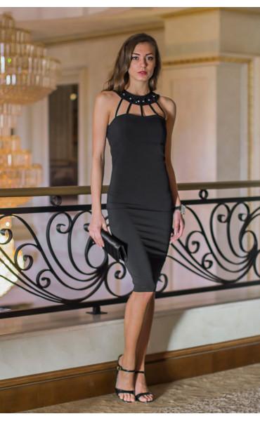 Атрактивна черна официална рокля с камъни Shine_14629