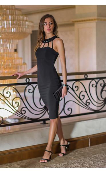 Атрактивна черна официална рокля с камъни Shine_14630