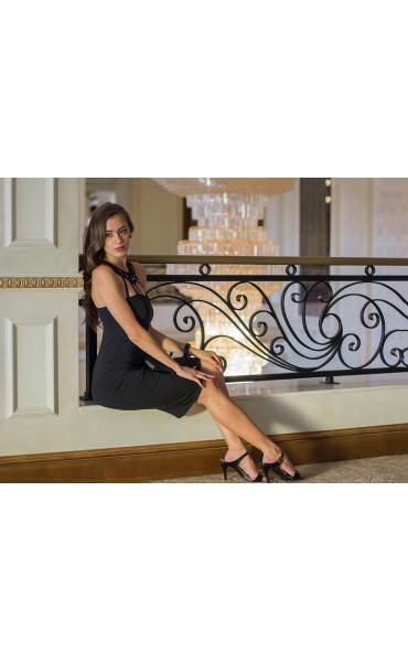 Атрактивна черна официална рокля с камъни Shine_14633