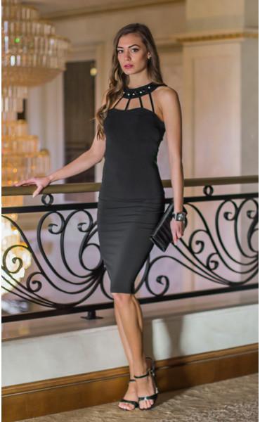 Атрактивна черна официална рокля с камъни Shine_14634