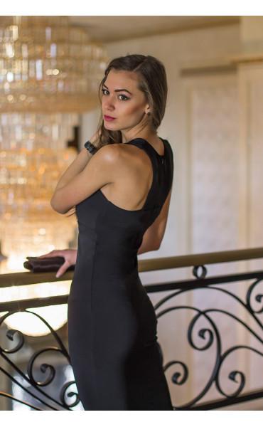 Атрактивна черна официална рокля с камъни Shine_14635