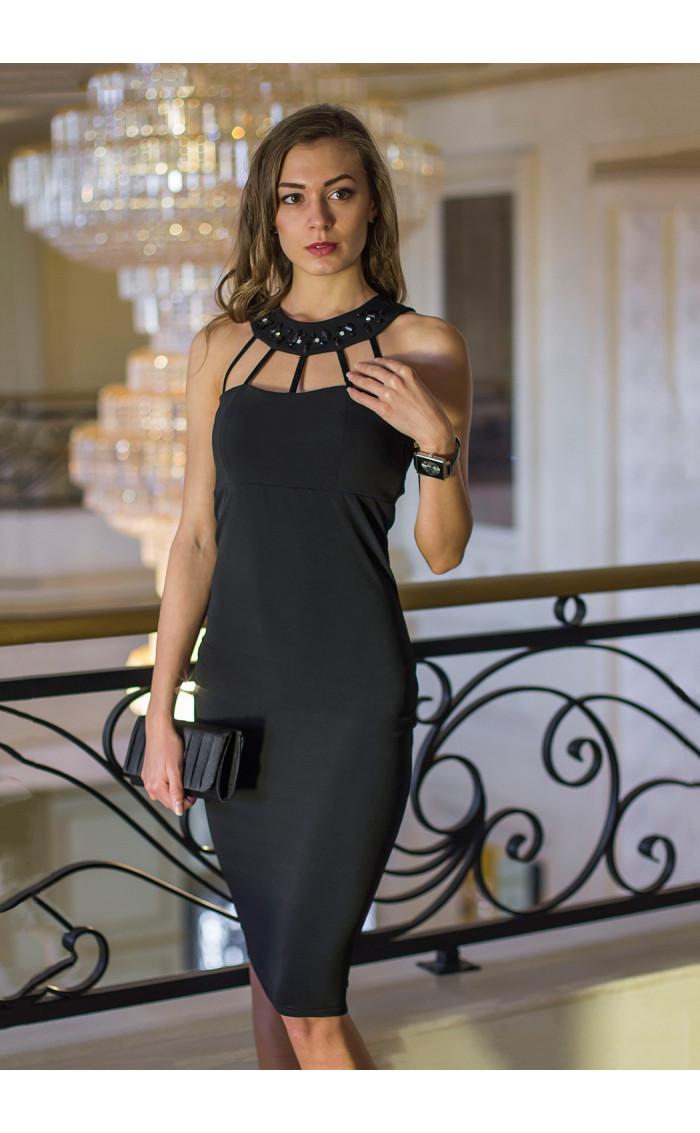 Атрактивна черна официална рокля с камъни Shine