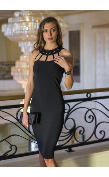 Атрактивна черна официална рокля с камъни Shine_14636