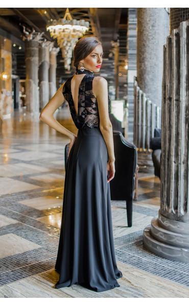 Елегантна официална рокля с атрактивен гръб Кадифе