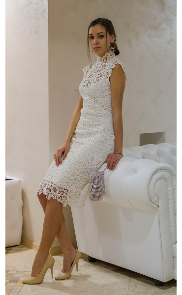 Бяла дантелена рокля Pure Love_14797