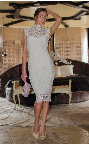 Бяла дантелена рокля Pure Love_14808