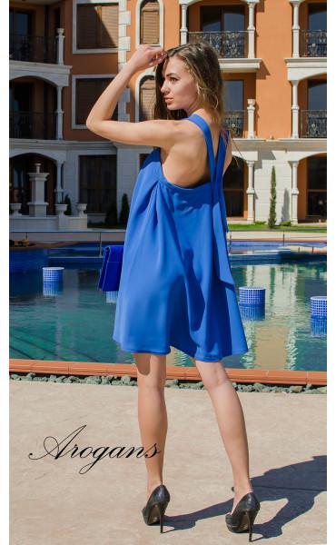 Лятна синя къса рокля Blue Magic с презрамки_14865