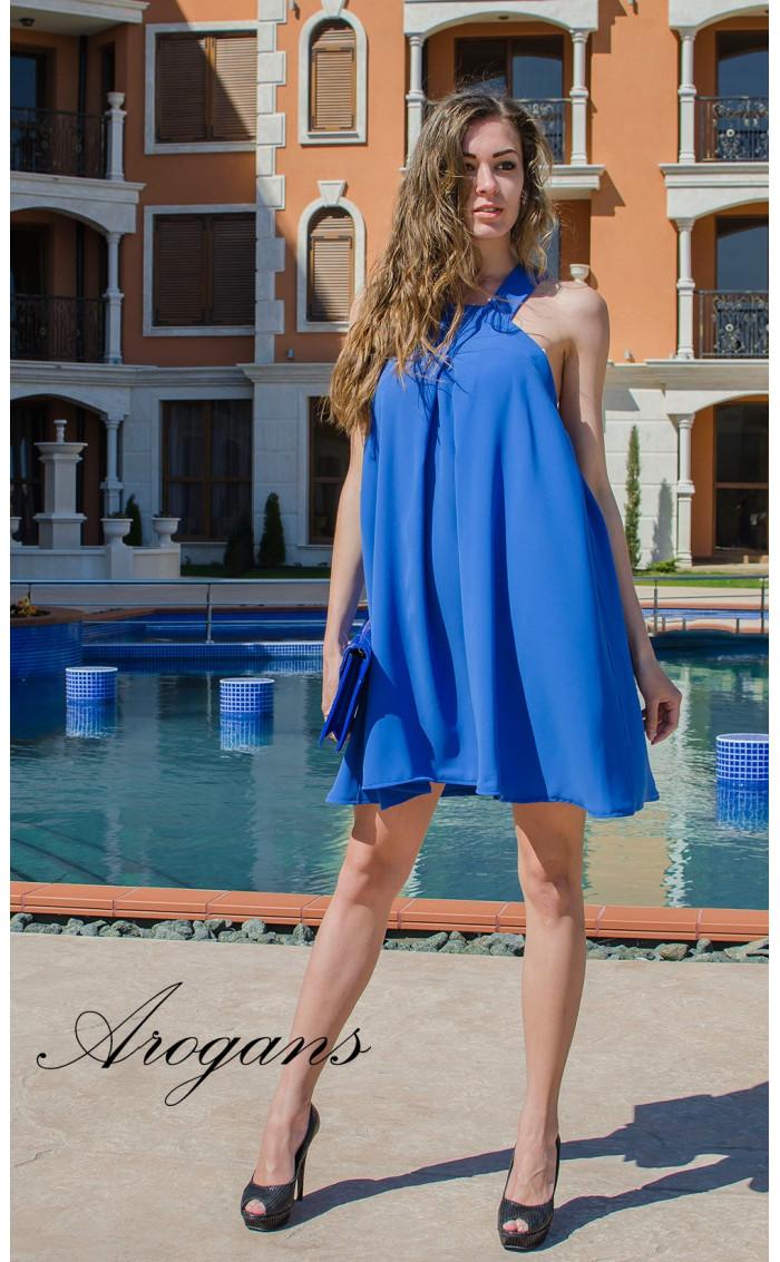Лятна синя къса рокля Blue Magic с презрамки
