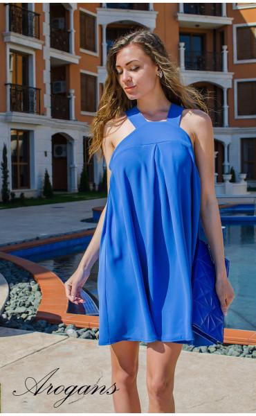 Лятна синя къса рокля Blue Magic с презрамки_14867