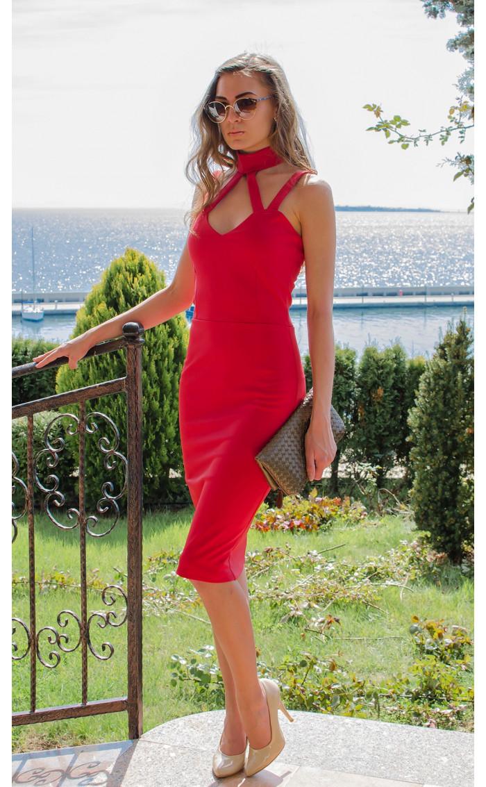 Червена елегантна рокля без ръкави с ленти Red fox