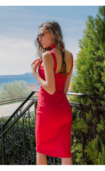 Червена елегантна рокля без ръкави с ленти Red fox_14917