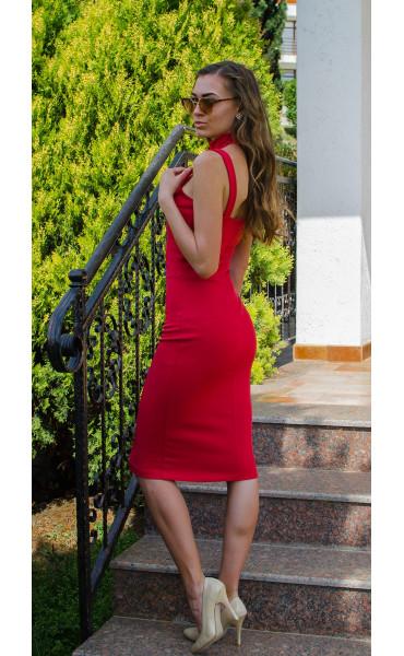 Червена елегантна рокля без ръкави с ленти Red fox_14918