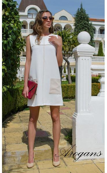 Бяла лятна ежедневна рокля JOY със свободен силует_14931