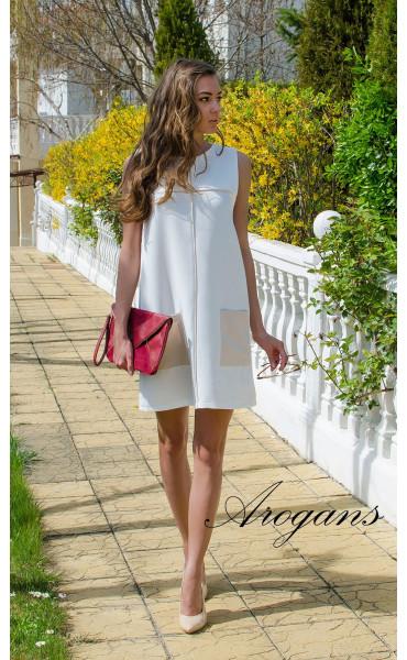 Бяла лятна ежедневна рокля JOY със свободен силует_14932