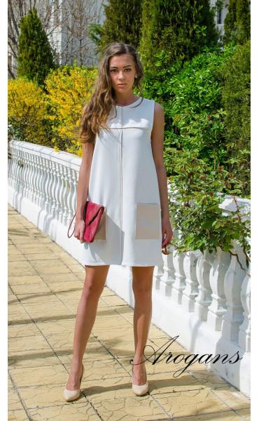 Бяла лятна ежедневна рокля JOY със свободен силует_14933