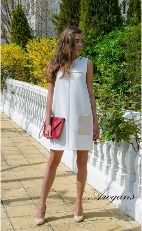 Бяла лятна ежедневна рокля JOY със свободен силует
