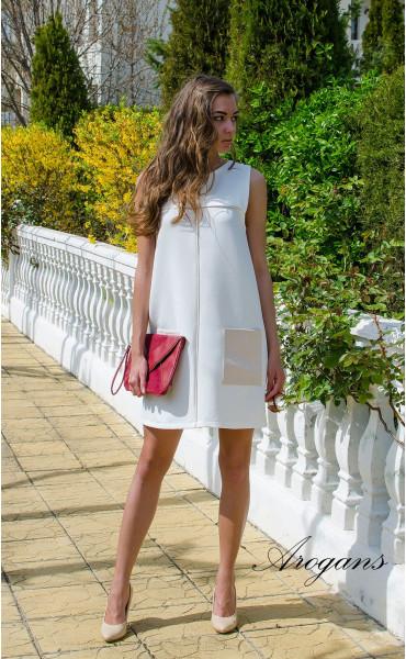 Бяла лятна ежедневна рокля JOY със свободен силует_14934