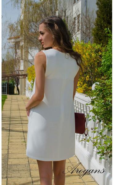 Бяла лятна ежедневна рокля JOY със свободен силует_14935