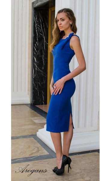 Елегантна класическа рокля в кралско синьо с цепка_14942