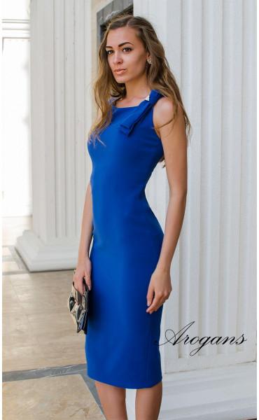 Елегантна класическа рокля в кралско синьо с цепка_14943