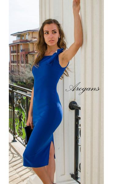 Елегантна класическа рокля в кралско синьо с цепка_14945