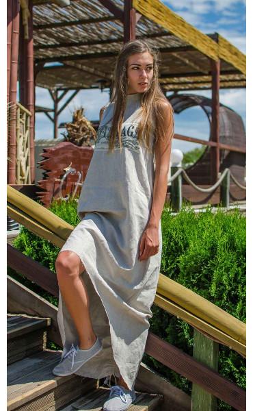 Дълга лятна рокля от лен Vintage