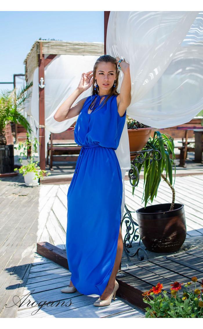 Дълга лятна рокля в синьо Blue Ocean