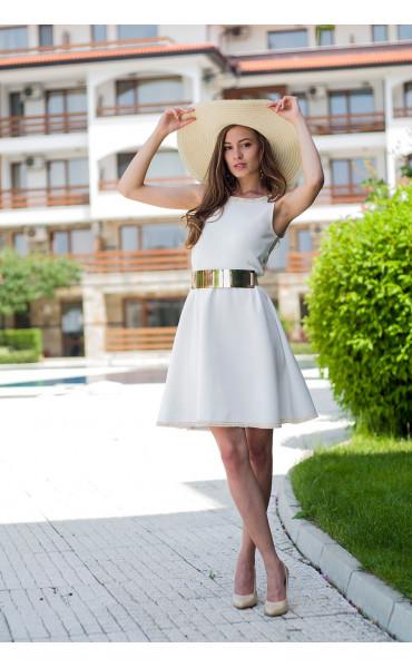 Бяла рокля с плетена дантела Никол_15309