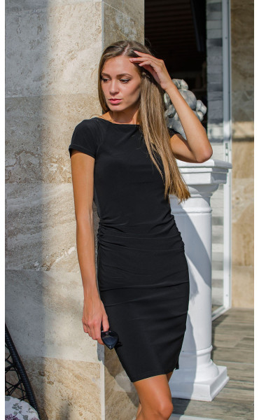 Класическа черна рокля с къси ръкави Little Black Dress_15541