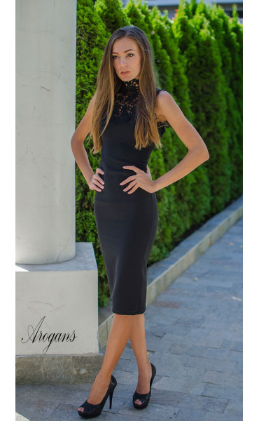 Официална рокля Black pearl с елегантна брюкселска дантела_15573