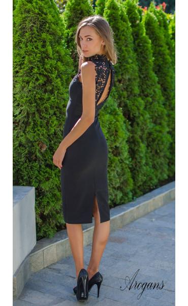 Официална рокля Black pearl с елегантна брюкселска дантела_15576