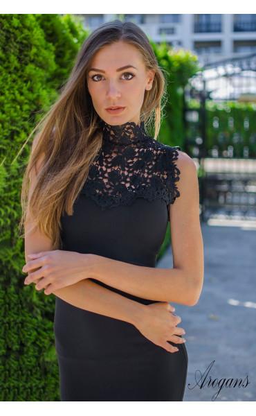 Официална рокля Black pearl с елегантна брюкселска дантела_15578