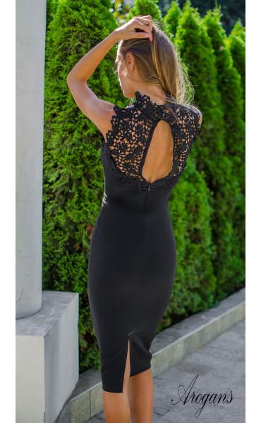 Официална рокля Black pearl с елегантна брюкселска дантела_15580