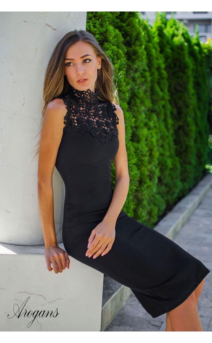 Официална рокля с елегантна брюкселска дантела Black pearl