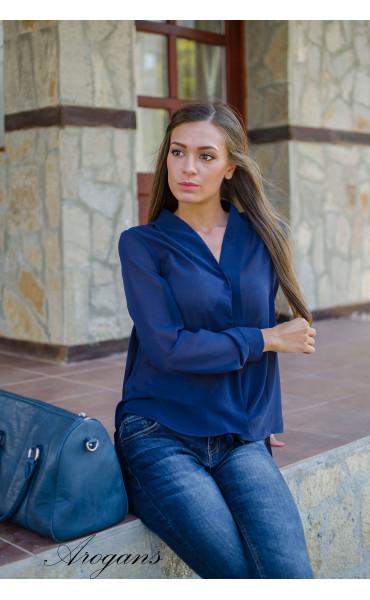 Спортна асиметрична риза в син цвят _15645